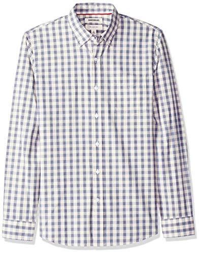Oxford-hemd Mit Karomuster (Goodthreads Herren Slim-Fit Hemd aus Baumwoll-Popeline mit Karomuster und langen Ärmeln, Beige (Ivory Check Ivo), Gr. Medium)