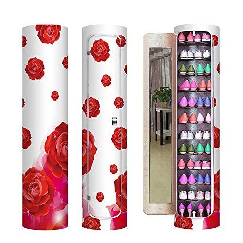 LULUVicky-Home - Mueble para Zapatos con Espejo Redondo, 10 Capas, Ideal para el salón o decoración...