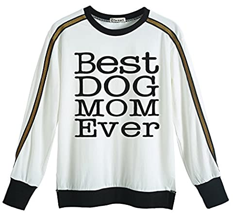 So'each Women's Best Dog Mom Graphic Long Sleeve Sweatshirt Pullover Tops