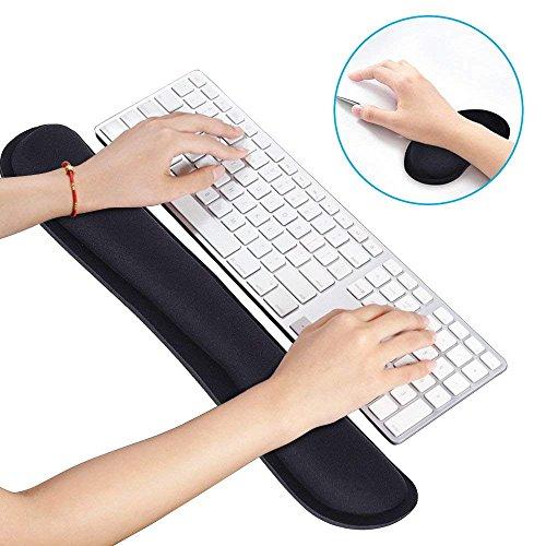 Powcan Tastatur Handgelenk Rest Auflage u. Maus Handgelenk Rest Stützauflage stellte mit Gedächtnis Schaum für Computer Laptop ein Einfaches Schreiben u. Schmerzlinderung Einfach Laptop