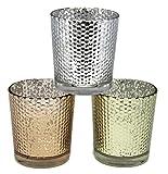 Bada Bing 3er Set Windlicht Glas Teelichthalter bauern silber gold kupfer 36718