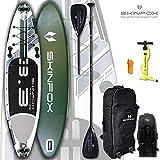 SKINFOX Turtle Carbon-Set (335x80x15) 4-TECH L-CORE SUP Board Paddelboard grün NEUESTE SUP Generation - Testsieger 2018 (Board,Bag,Pumpe,Carbon SUP-/Kayak Paddel)