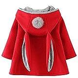 ARAUS-Baby Mädchen Mäntel aus Baumwolle Frühlung Herbst Winter Jache mit Kapuze Kleinkinder Warm Kleidung Rot 90