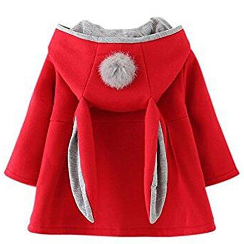 ARAUS-Baby Mädchen Mäntel aus Baumwolle Frühlung Herbst Winter Jache mit Kapuze Kleinkinder Warm Kleidung Rot 100 (Mäntel Rot Mädchen)