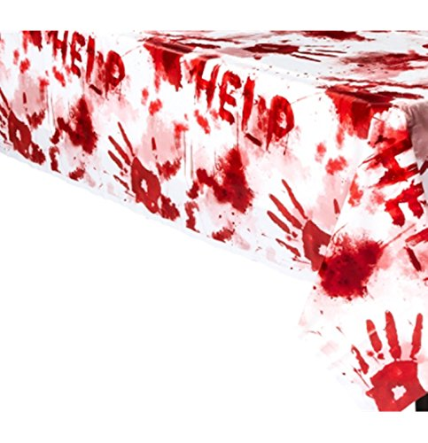 schdecke Halloween-Tischdeko weiss-rot 140x260cm Einheitsgröße (Blutiges Halloween)