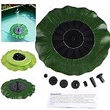 Liqoo® 1.4W Solar Bomba de Agua Fuente para Decoración de Estanque Jardín Forma de hoja de Loto con 4 Boquillas de Pulverización 7V Altura Máxima del