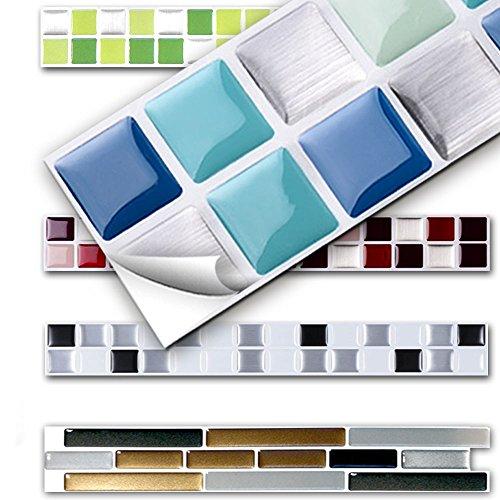 7 Stück 25,3 x 3,7 cm Wandora 3D Fliesenaufkleber W1431 viele Farben und Größen zur Auswahl Küche Bad Fliesenfolie selbstklebend blau silber...