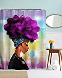 HENSE Afro Sexy Lady Purple Hair African Girl Shower Curtains Mildew Resistant Waterroof Anti-Bacterial Polyester Fabric Shower Curtain - Eco-Friendly No Odor Bathroom Set Free Hooks150x180 cm(HYC26)