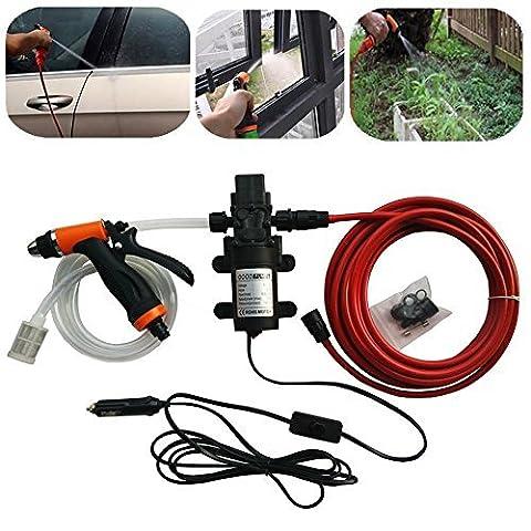 Sound Vision Portable 12V 80W High Pressure Washer Self Priming Car Wash Water Pump Pipe Sprayer Kit