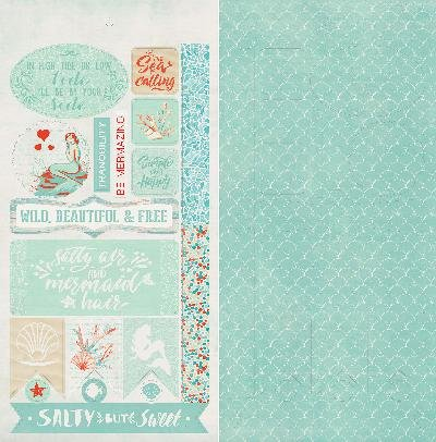 Paper Accents Cardstock (Authentique Paper Sea-Maiden Double-Sided Cardstock Die-Cut Sheet 6