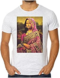 OM3 - GANDHI MONA LISA - Men's Slim Fit T-Shirt (FITTED!!!) INDIA DA VINCI ART FUN GEEK