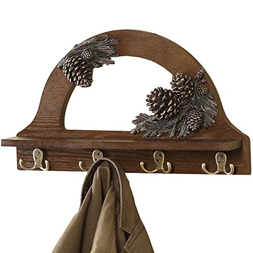 LIANGLIANG Patère Murale Metal Double Hook Design Antique Style Hanger Wood Brown ,53cm Long