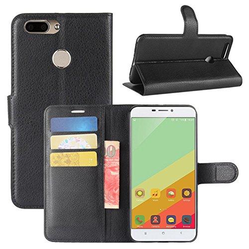 HualuBro Oukitel U20 Plus Hülle, Premium PU Leder Leather Wallet HandyHülle Tasche Schutzhülle Flip Case Cover für Oukitel U20 Plus Smartphone (Schwarz)
