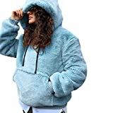 TianWlio Jacken Parka Mäntel Damen Herbst Winter Warme Jacken Langarm Pullover Winter Warm Mit Kapuze Mit Lässig Weiche Warme Sweatshirt Tops Light Blau L