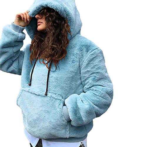 TianWlio Jacken Parka Mäntel Damen Herbst Winter Warme Jacken Langarm Pullover Winter Warm Mit Kapuze Mit Lässig Weiche Warme Sweatshirt Tops Light Blau M