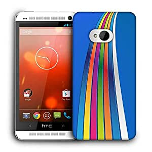 Snoogg Blue Background Strips Printed Protective Phone Back Case Cover For HTC One M7