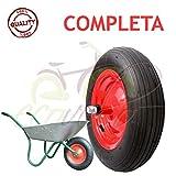 Union Ruota PNEUMATICA Completa 3.50-8 (4pr) Ricambio per CARRIOLA Modello Vespa ASSE Lungo 155mm Gomma