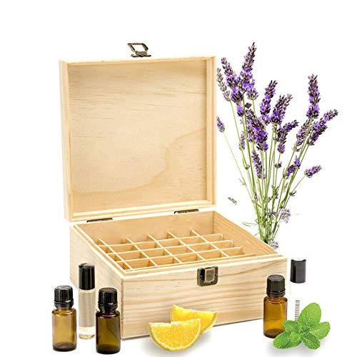 HshDUti Aufbewahrungsbox Trägeröl Make-up-Box 25 Slots ätherisches Öl Flasche Display aus Holz Container Organizer