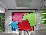 Bavaria-Home-Style-Collection Fußmatte wash+Dry Design Crazy Cubes verrückte Matte Bunt Größe 60x85 cm waschbar