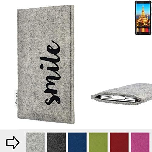 flat.design Handy Hülle FARO für Energizer H590S personalisierbare Handytasche Filz Tasche Case Smile fair