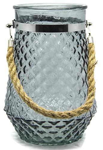 Bada Bing Neu XL Windlicht Rhomb Glas GRAU Kordel Raute Relief Teelichthalter Deko Vase 09