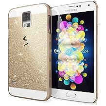 Samsung Galaxy S5 S5 Neo Funda Carcasa de NICA, Protectora Movil Purpurina Cubierta Dura Delgado Glitter Hard-Case, Bumper Cover Lentejuela Ultra-Fina para Telefono Samsung S5 Neo S5 - Gold Oro