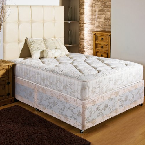 Hf4you New Ortho Firm Quilted Damask Divan Bed - 3ft6 Large Single - No Storage - No Headboard