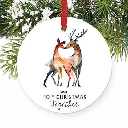 Rutehiy Our 10th Christmas Together REH Paare Zehnter Weihnachten zusammen rund Weihnachten Ornament Andenken Weihnachtsbaum Dekoration Hochzeit Jahrestag Geschenk Weihnachtsbaum Geschenk Idee (Ideen Jahrestag Zehnter)
