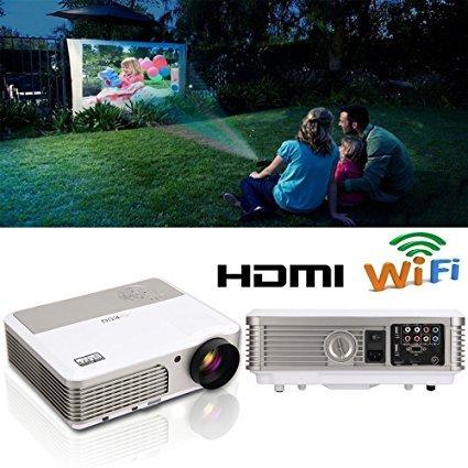 EUG WiFi Vidéoprojecteur HD LED 2600 Lumen Home Cinéma Android Système HDMI VGA USB