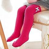ZYTAN Overknee calze Baby solido calze senza osso di ginocchio in cotone pettinato,rosa rosso,codice S Lunghezza 35cm 6 coppie