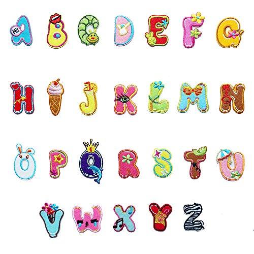 26 coloridas letras del alfabeto A-ZLovely Animal parche para planchar