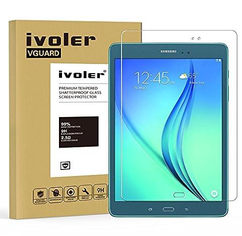 Samsung Galaxy Tab A 9.7 pouces (SM-T550) Protection écran, iVoler® Film Protection d'écran en Verre Trempé Glass Screen Protector Vitre Tempered pour Samsung Samsung Galaxy Tab A 9.7'' (SM-T550) - Dureté 9H, Ultra-mince 0.30 mm, 2.5D Bords Arrondis- Anti-rayure, Anti-traces de doigts,Haute-réponse, Haute transparence- Garantie de Remplacement de 18
