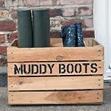Wellie Boot Rack & Shoe Rack - Rustic Wooden Storage Box - Custom Muddy Boots Stenciled