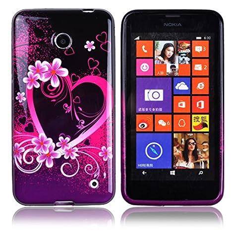 Voguecase® pour Nokia Lumia 630/635 ,TPU Silicone Shell Housse Coque Étui Case Cover(Grand Pourpre Cœur)+ Gratuit stylet l'écran aléatoire universelle