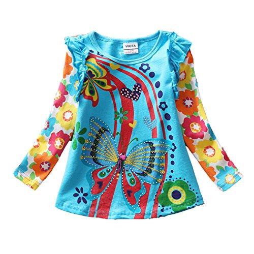 VIKITA Mädchen Langarm Baumwolle T-Shirt Top 1-6 Jahre L3916Blau 4T (Top Mädchen T-shirt 4)
