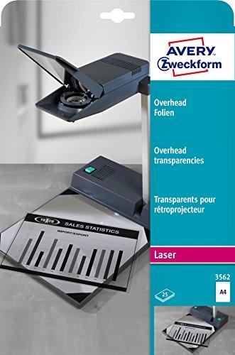 AVERY Zweckform 3562 Overhead-Folien (A4, spezialbeschichtet, stapelverarbeitbar, Stärke: 0,10 mm, 25 Blatt)