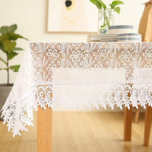 XTUK Home Decoration Tischdecke Tischdecke Weiß Stoffbezug Stoffbezug Handtuch Tischdecke Spitze Kaffeetischdecke Kaffeetischdekor Stoff Tischdecke Weiß 145 * 215 cm