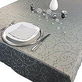 PROHEIM Premium Tischdecke 150 x 250 cm Elegante Tafeldecke mit edlen Ornamenten Tafeltuch mit Rankenmuster schmal gesäumtes Tischtuch, Farbe:Anthrazit - 2