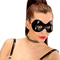 Careta de Catwoman | Media Máscara Negro | Mascarilla Veneciana Héroe | Antifaz de Zorro