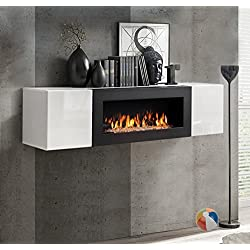 muebles bonitos Armario Colgante con Chimenea bioetanol Erica lumbre (160x40cm) en Blanco