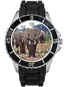 Elefant Motiv Uhr Unisex mit Silikonband