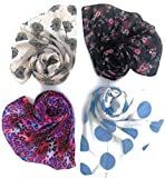 Letz Dezine Printed Poly Cotton Set of four mullticoloured stoles; scarf and stoles for women