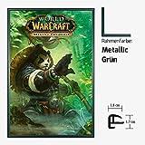Kunstdruck Poster - World of Warcraft WoW Mists of Pandaria 61 x 91,50 cm mit Kunststoff-Bilderrahmen & Acrylglas reflexfrei, viele Farben zur Auswahl, hier Metallic Grün