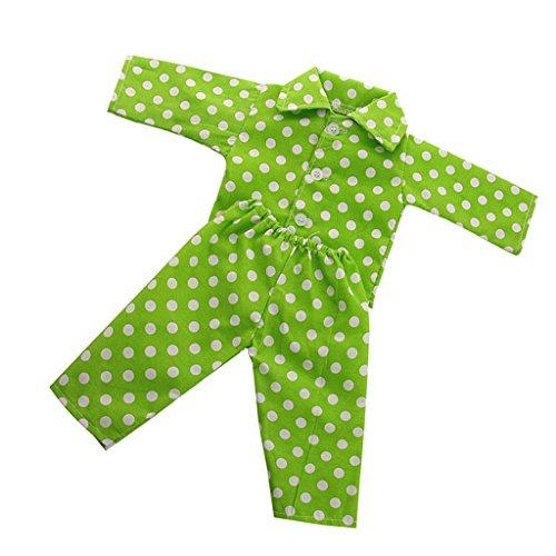Homyl Mode Puppen Tupfen Muster Schlafanzug Overalls mit Tupfen für 18 Zoll Puppen Bekleidung Zubehör - Weiß + Grün -