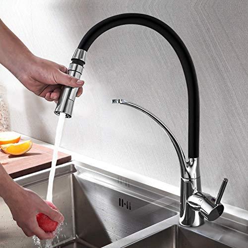 Spule Wasserkocher (Küchenarmatur mit Brause Ausziehbar, WOOHSE Armatur 360° Drehbar Schwarz Wasserhahn Küche mit herausziehbarer Dual-Spülbrause Mischbatterie für Küchen Spüle Einhebel Spültischarmatur Messing verchromt)