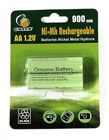 Galix Ni-Mh 600/2 Lot de 2 Batteries Rechargeables 600 mAh AA 1,2 V 1,4 x 4,8 cm