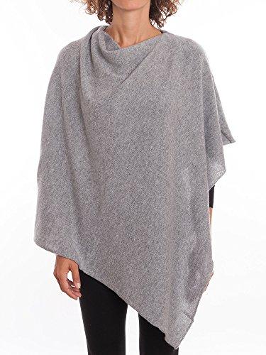 Dalle Piane Cashmere - Poncho aus 100% Kaschmir - für Frau, Farbe: Grau, Einheitsgröße (Grau Kaschmir 100%)