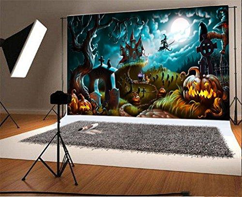 YongFoto 2,2x1,5m Vinyl Foto Hintergrund Halloween Nacht Geheimnis Friedhof Fotografie Hintergrund für Fotoshooting Portraitfotos Party Kinder Hochzeit Fotostudio Requisiten