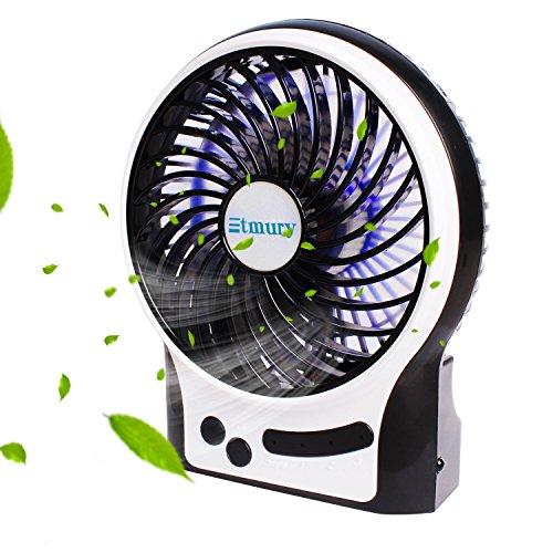 Etmury USB Ventilator,Fan Tischventilator Standventilator Mini,Mini Fan 3 Geschwindigkeiten Lüfter mit LED Licht Ventilatoren,Kühlventilator Tischventilator Laptop-Fan für Haus,Büro,Kampieren -