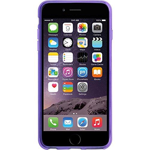 PhoneNatic Case für Apple iPhone 6 Plus / 6s Plus Hülle Silikon schwarz X-Style Cover iPhone 6 Plus / 6s Plus Tasche + 2 Schutzfolien Lila